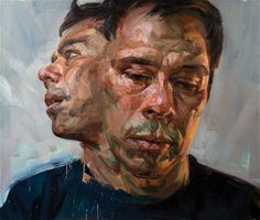 Tai-Shan Schierenberg - winner of 1989 NPG John Play Portrait award. The fractured double form of this portrait enhances a sense of unease. The very geometric application of colour is an interesting technique.