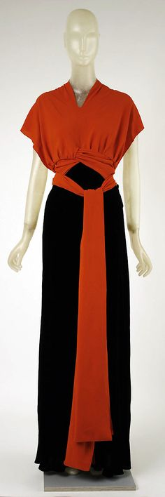 Red and Black Evening Dress, Madeleine Vionnet, French, 1933-37, The Metropolitan Museum of Art, New York