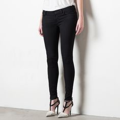 Womens Low Rise Skinny Jeans In Black Powerstretch | DSTLD Luxury Jeans & Essentials | No Retail Markup