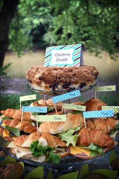 Blueberry buckle, it's OMGood! With a variety of sandwiches. The Everyday Posh: Posh Picnic Blueberry Picking Party #poshpicnics #nationalpicnicweek
