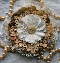 This oh so vintage floral pin has been created using vintage lace, flower, and charming calico fabrics. Sweet little seed beads have also been