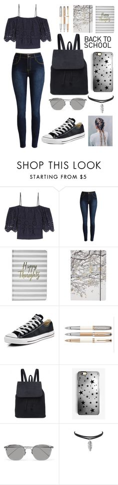 """Back To School Outfit"" by kirsty-mckenzie44 ❤ liked on Polyvore featuring Ganni, Boohoo, Go Stationery, Converse, Rianna Phillips and Linda Farrow"