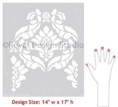 Patrón de la plantilla de pared Damasco por royaldesignstencils
