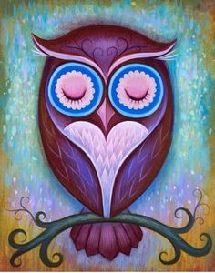 Sleepy Owl by Jeremiah Ketner for the Art Prints Purple Owl, Owl Pictures, Owl Always Love You, Illustration Art, Illustrations, Beautiful Owl, Wise Owl, Owl Print, Painting Inspiration