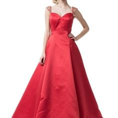Full red prom evening dress with red crystals