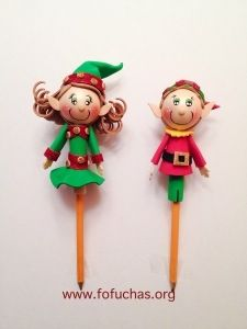 Christmas Fofuchas and Pencil Toppers for the upcoming holidays, make great gifts for kids and decorative in the office or at home. Very lightweight and colorful elves but other characters can be integrated.