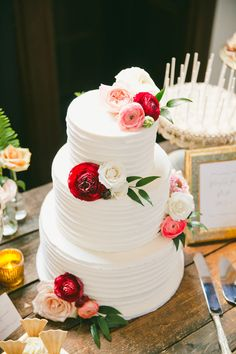 White Classic Wedding Cake With Flowers
