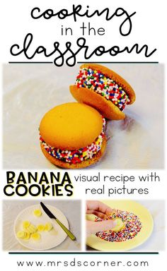 Banana Cookie recipe for kids - visual recipes for cooking in the classroom, using real pictures. No bake banana cookies visual recipes for students with special needs.