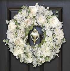 Wedding Wreath Font Door Wedding Wreaths Cream Floral