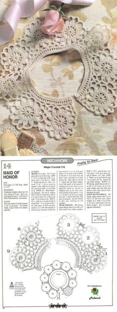 This Pin was discovered by Mih Crochet Collar Pattern, Col Crochet, Crochet Lace Collar, Crochet Chart, Thread Crochet, Crochet Gifts, Crochet Motif, Irish Crochet, Crochet Designs