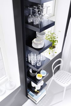 Put your dinnerware and drinkware on display! Add an IKEA LACK wall shelf unit to your kitchen or dining room to store plates, wine glasses, cookbooks and more!