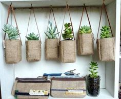 20 Easy DIY Hanging Plants to Beautify Your Garden Today the price of land is very expensive because the house has limited land in development. Hanging Plants Outdoor, Diy Hanging, Hanging Baskets, Hessian Crafts, Hessian Bags, Burlap Coffee Bags, Coffee Sacks, Plant Bags, Grow Bags