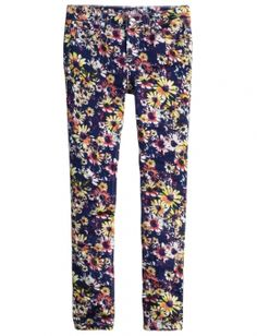 Daisy Print Super Skinny Ankle Jeans