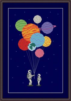 cross stitches space balloons cross stitch pattern - I love this cross stitch pattern from Helena Kovalchuk so much! The Astronauts and Planets cross stitch pattern features two astronauts, with the planets gathered into a bunch of balloons. This wou… Cross Stitching, Cross Stitch Embroidery, Embroidery Patterns, Hand Embroidery, Simple Embroidery, Cross Stitch Art, Cross Stitch Designs, Cross Stitch Patterns, Embroidery Techniques