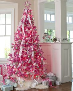 Karin Lidbeck: 8 Day Countdown A Hot Pink, Black & White Christmas white christmas tree with pink decorations Noel Christmas, All Things Christmas, White Christmas, Christmas Mantles, Christmas Cactus, Modern Christmas, Christmas Ornaments, Christmas 2019, Pink Christmas Tree Decorations