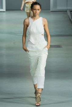 3.1 Phillip Lim | Spring 2015 Ready-to-Wear | 03 White embroidered sleeveless top and cropped trousers