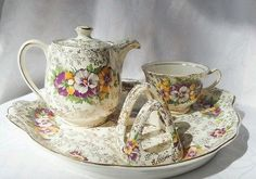 James Kent Gold Chintz Pansies 5022 Breakfast set for One England - Incomplete