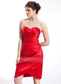 Sheath/Column Sweetheart Knee-Length Satin Bridesmaid Dress With Ruffle (007026282) - JJsHouse