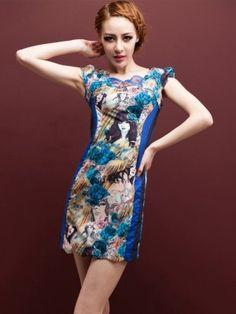 Blue Short Modern Qipao / Chinese Cheongsam Dress