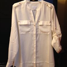 Charter club cream blouse. Petite large Long sleeves with tab with gold button. Pockets on front . Buttondown. New never worn Charter Club Tops Blouses