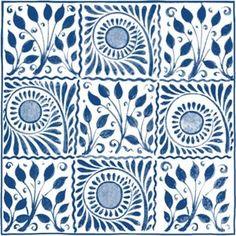V and A William De Morgan Cobalt Squares Tiles - 152 x 152mm