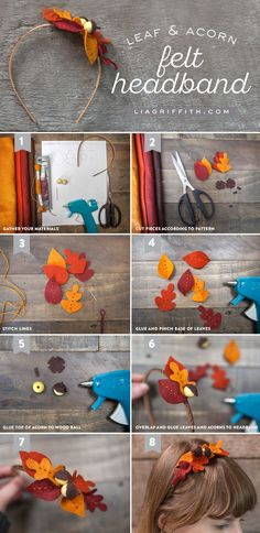 DIY Felt Leaf and Acorn Fall Headband Tutorial from MichaelsMakers Lia Griffith