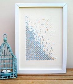Paper Embroidery Geometric cross stitch paper artwork in blue by PixelAndThread Blackwork Embroidery, Paper Embroidery, Modern Embroidery, Cross Stitch Embroidery, Embroidery Patterns, Cross Stitch Art, Cross Stitch Designs, Cross Stitching, Cross Stitch Patterns