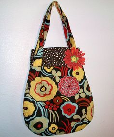 Adorable Fall Double Strap Shoulder Bag with adorable polka dot lining and inside pocket. $25.00, via Etsy.