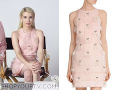 Chanel Oberlin (Emma Roberts) wearing a cotton candy pink, silk Fendi dress embellished with twinkling crystals and weightless white feathers in Scream Queens.