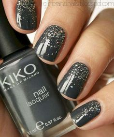 Dark Gray Base + Silver Glitter NYE Nail Art Design for Short Nails