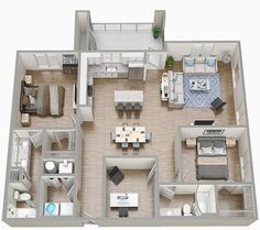 Two bedrooms apartment floorplan with furniture 🛏🛏. Fully furnished floorplan with 2 beds, kitchen, 2 bathrooms, living room and balcony. Rendering by Tsymbals Design Small Apartment Layout, Apartment Furniture Layout, Living Room Furniture Layout, Apartment Interior, Apartment Living, Furniture Design, Apartment Plants, Fine Furniture, Trendy Furniture