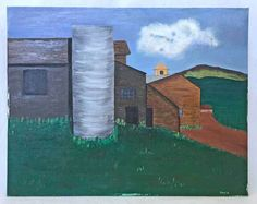 """A mountain farm complex, with a dramatic silo. Signed, lower right """" David """" and dated """", on reverse. Cubist Paintings, Art Vintage, David, The Originals, Architecture, Folk Art, Building, Ebay, Arquitetura"""