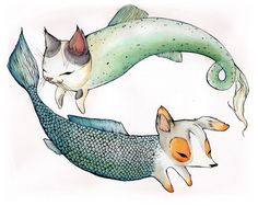 cat and dog mermaids