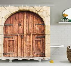 Bathroom Rugs Ideas | Rustic Decor Shower Curtain Set by Ambesonne Traditional Oak Crafted Doorway on Stone Facade Artisan Hand Made Features Culture Print Bathroom Accessories 84 Inches Extralong Cream Brown *** Be sure to check out this awesome product. Note:It is Affiliate Link to Amazon.