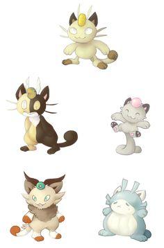 Meowth Variations by zippyskipy