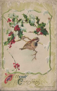 1911 Edwardian Merry Christmas Postcard Unposted Silk Ribbon by John Winsch Vintage Holiday Postcards, Vintage Christmas Cards, Christmas Greeting Cards, Christmas Greetings, Vintage Cards, Christmas Bird, Christmas Scenes, Victorian Christmas, Christmas Pictures