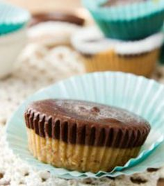 44-Calorie Frozen Chocolate Peanut Butter Cups: THESE ARE DELISH!!! I made this into a total of 6 servings, though, because they would have just been too little to be realistic in my house. :) I will definitely make these again. It takes care of that rich/creamy dessert craving or ice cream craving. So yummy!  | via @SparkPeople #food #dessert #freezer #recipe #treat
