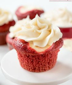 Red Velvet Cheesecake Cupcakes – the perfect dessert! The best of both: a red velvet cupcake, creamy cheesecake, and cream cheese frosting. GET THE RECIPE Red Velvet Cheesecake Cupcakes submitted by Crazy for Crust Red Velvet Cheesecake Cupcakes, Red Velvet Desserts, Cream Cheese Cupcakes, Cheesecake Frosting, Pumpkin Cheesecake, Cookie Cheesecake, Raspberry Cheesecake, Food Cakes, Cupcake Cakes