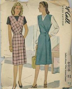 An original ca. 1945 McCall's pattern 6016.  Ladies' Misses' Wrap-Around Jumper.