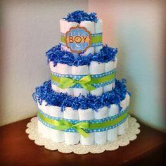 Blue and Green Diaper Cake, It's a boy, Boy Diaper Cake