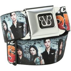 Black Veil Brides Band Photo Seat Belt Belt | Hot Topic ($67) ❤ liked on Polyvore featuring accessories, belts, bands, black veil brides, black bridal belt, bridal belt and black belt