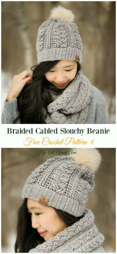 Braided Cabled Slouchy Beanie Hat Crochet Free Pattern - Women  Slouchy  Beanie  Hat Free 2f5473b715bd
