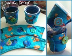 """Disney/Pixar Nemo and Dory coffee cozies. 4 available. For Sale $4.50 each    http://sewingthelostart.blogspot.com/2012/07/more-cozies.html    http://adarlingdesign.storenvy.com/products/454200-finding-nemo-coffee-cozie    please do not remove """"a darling design"""" or repost as your own"""