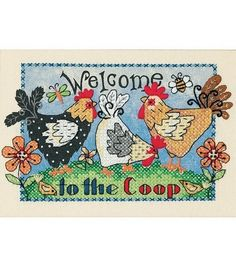 Dimensions Welcome To The Coop Mini Stmd X-Stitch Kit-7''X 5'', , hi-res