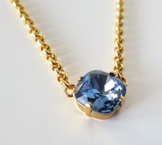 Blue Sapphire Crystal Necklace Gold Swarovski 12mm by AngelPearls