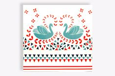 Repeatable swan and hearts pattern ceramic wall tile