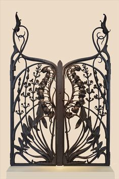 """cgmfindings: """" Art Nouveau wrought iron Grid Calla palustris grille and arrowhead ironworker Emile Robert [in museum of the Ecole de Nancy] made around 1902 from a model of Victor Prouvé """""""