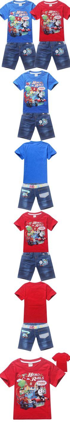 2016 Summer New Fashion Baby Boys Clothes Sets Kids Boys Clothes Short Sleeve Shirt+Denim Shorts Children Sport Suits Clothing