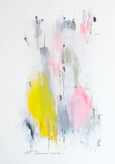 Large Abstract Painting on paper Original Art 39x26 acrylic pink grey yellow pastels contemporary art