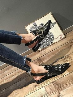 Shop Black Pointed Studded Slip-on Flats from choies.com .Free shipping Worldwide.$43.19